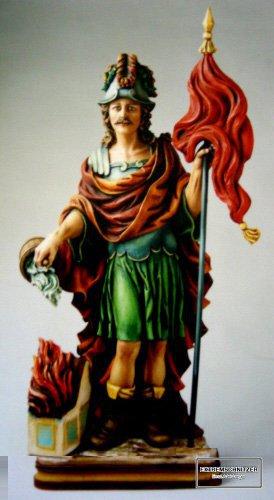 Der heilige Florian, Schutzpatron der Feuerwehr mit Helm.
